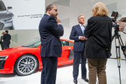 Toni Melfi (Head Audi communication) and Rupert Stadler (CEO Audi) in an Interview in front of the new Audi R8 V10 plus.